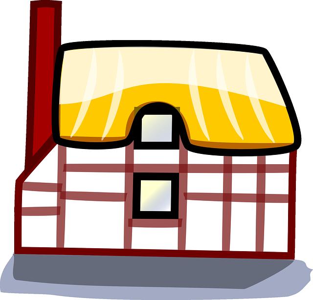 kreslený domek, červený komín