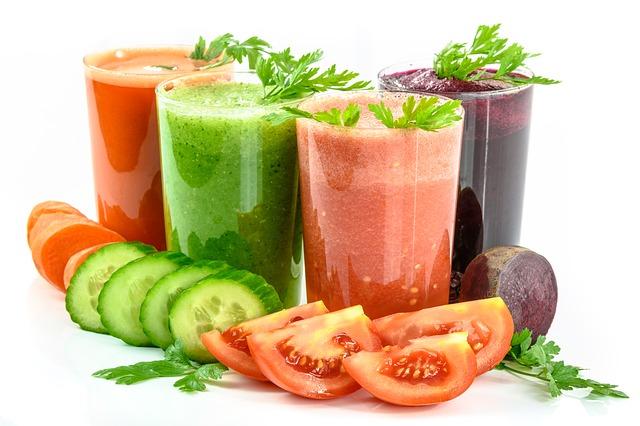čtyři zeleninové šťávy